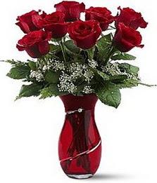 Vazo içinde 8 adet kirmizilar içinde güller  Türkiye ucuz çiçek gönder