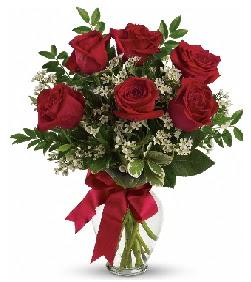 Cam vazo içerisinde 6 adet kırmızı gül  Türkiye yurtiçi ve yurtdışı çiçek siparişi