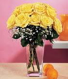 Türkiye çiçek satışı  9 adet sari güllerden cam yada mika vazo