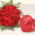 Türkiye 14 şubat sevgililer günü çiçek  10 adet gül ve kalp çikolata