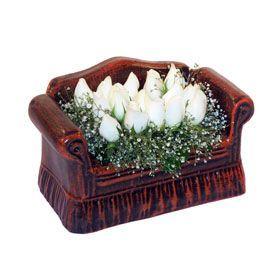 seramik içerisinde 11 gül  Türkiye çiçek yolla