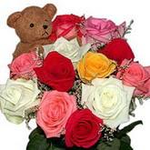 renkli güller ve ayicik   Türkiye online çiçek gönderme sipariş