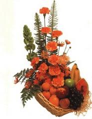 sepet kir çiçekleri meyva   Türkiye yurtiçi ve yurtdışı çiçek siparişi