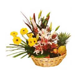 Karisik meyva sepeti ve çiçekler  Türkiye çiçek siparişi sitesi