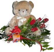 Türkiye çiçekçi mağazası  5 adet gül , mum ve ayicik sevdiklerinize özel