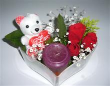 Türkiye çiçek siparişi sitesi  kalp içerisinde 3 gül seni seviyorum yazili pelus