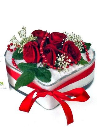 Türkiye internetten çiçek satışı  EN ÇOK BEN SEVIYORUM Mika kalp 5 adet kirmizi gül