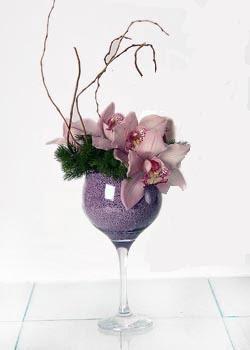 Türkiye çiçekçi mağazası  cam içerisinde 3 adet kandil orkide