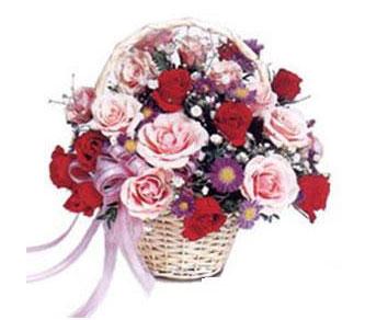Türkiye çiçek , çiçekçi , çiçekçilik  Karisik gül sepeti 13 adet gül güller