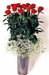 Türkiye çiçek siparişi sitesi  9 adet kirmizi gül cam yada mika vazoda