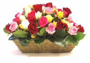 Türkiye çiçek gönderme  karisik 15 adet gül sepet modeli