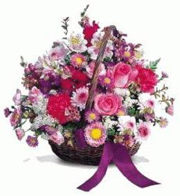 Türkiye kaliteli taze ve ucuz çiçekler  Karisik kir çiçeklerinden sepet tanzimi