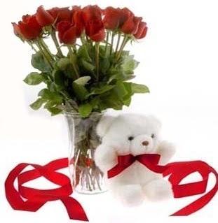 Türkiye çiçek yolla , çiçek gönder , çiçekçi   8 adet kirmizi gül ve pelus ayicik  Türkiye hediye çiçek yolla