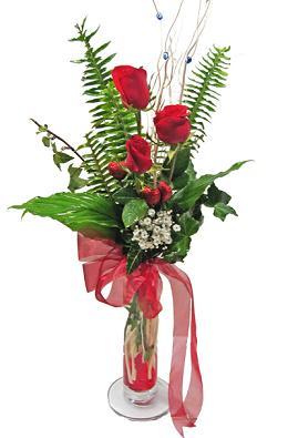 Çiçek gönderin cam vazoda 3 gül çiçekleri  Türkiye çiçekçi telefonları