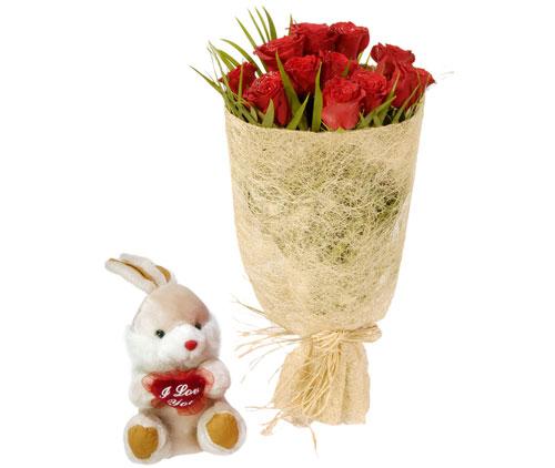 10 adet kirmizi gül ve küçük pelus oyuncak  Türkiye internetten çiçek satışı