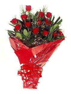 12 adet kirmizi gül buketi  Türkiye çiçek , çiçekçi , çiçekçilik