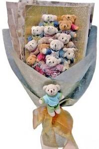 12 adet ayiciktan buket tanzimi  Türkiye çiçek siparişi sitesi