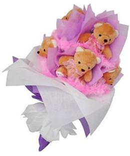9 adet ayiciktan buket  Türkiye online çiçek gönderme sipariş