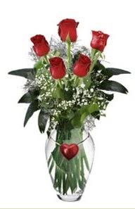 Türkiye ucuz çiçek gönder  5 adet kirmizi gül ve kalp çubuklu