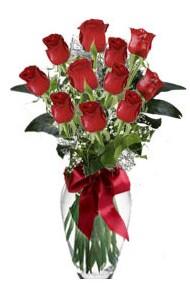 11 adet kirmizi gül vazo mika vazo içinde  Türkiye internetten çiçek siparişi