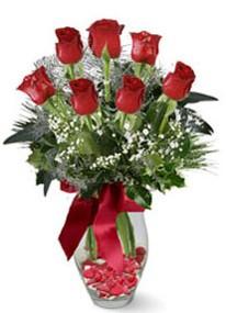 Türkiye ucuz çiçek gönder  7 adet kirmizi gül cam vazo yada mika vazoda