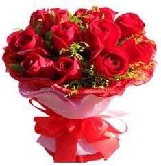 9 adet kirmizi güllerden kipkirmizi buket  Türkiye çiçek , çiçekçi , çiçekçilik