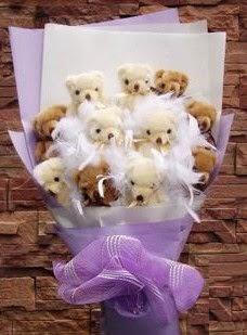 12 adet ayiciktan buket  Türkiye çiçekçiler