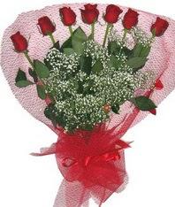 7 adet kipkirmizi gülden görsel buket  Türkiye uluslararası çiçek gönderme