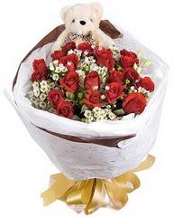 15 cm boyutlarinda ayicik ve 12 adet gül  Türkiye çiçekçi telefonları