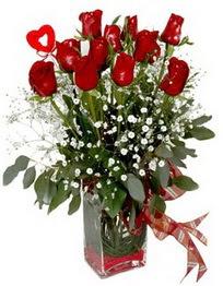 Türkiye hediye çiçek yolla  9 adet mika yada cam vazoda gül tanzimi kalp çubuk