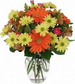 Türkiye online çiçek gönderme sipariş  vazo içerisinde karışık mevsim çiçekleri