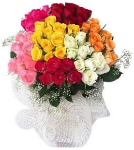 Türkiye online çiçekçi , çiçek siparişi  51 adet farklı renklerde gül buketi