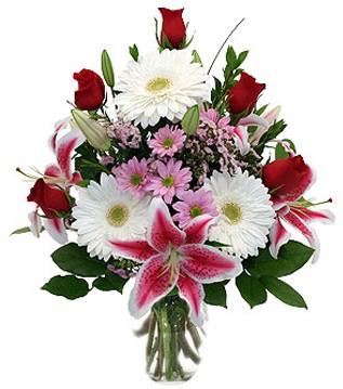 Türkiye uluslararası çiçek gönderme  1 dal kazablanka 5 gül ve kırçiçeği vazosu