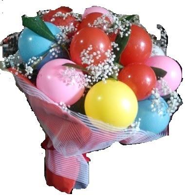 12 adet renkli balonlardan görsel balon buketi