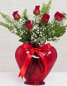 Kalp içerisinde 5 adet kırmızı gül  Türkiye online çiçekçi , çiçek siparişi