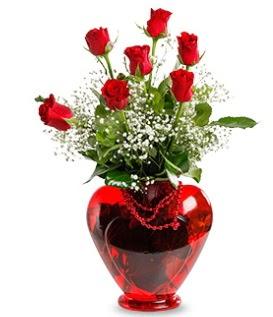 Kalp cam içinde 7 adet kırmızı gül  Türkiye çiçekçi telefonları