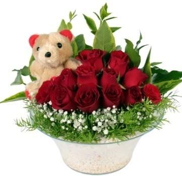 Cam tabakta 7 adet kırmızı gül ve küçük ayı  Türkiye çiçek gönderme