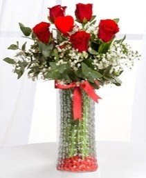 Cam vazoda 5 adet kırmızı gül kalp çubuk  Türkiye çiçek gönderme sitemiz güvenlidir