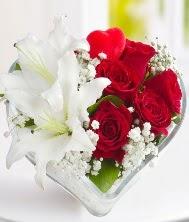 1 kazablanka 5 kırmızı gül kalpte  Türkiye ucuz çiçek gönder