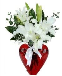 Kalp vazoda 3 kazablanka çiçeği  Türkiye çiçek mağazası , çiçekçi adresleri