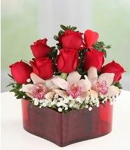 3 kandil orkide 5 kırmızı gül kalp mika  Türkiye çiçek satışı