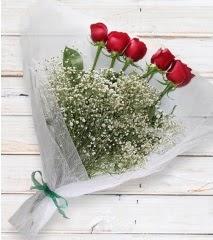 5 kırmızı gülden sade buket  Türkiye güvenli kaliteli hızlı çiçek