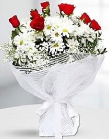 7 kırmızı gül ve papatyalar buketi  Türkiye çiçek satışı