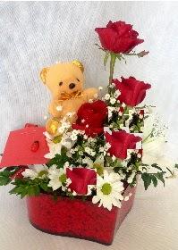 Mika kalp 5 Kırmızı gül ayıcık ve krizantem  Türkiye çiçek mağazası , çiçekçi adresleri