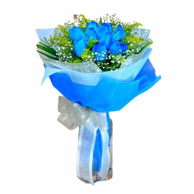 7 adet mavi gül buketi  Türkiye İnternetten çiçek siparişi