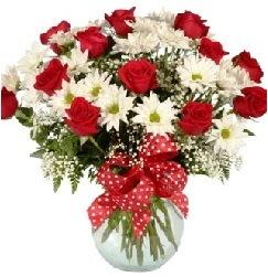 12 adet kırmızı gül papatya vazosu süper  Türkiye online çiçekçi , çiçek siparişi