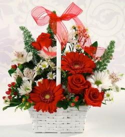Karışık rengarenk mevsim çiçek sepeti  Türkiye ucuz çiçek gönder
