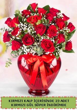 Kırmızı kalp içerisinde 23 adet kırmızı gül  Türkiye çiçek yolla , çiçek gönder , çiçekçi