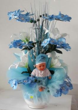 Mavi cam bebekli bebek doğum çiçeği  Türkiye çiçek yolla , çiçek gönder , çiçekçi