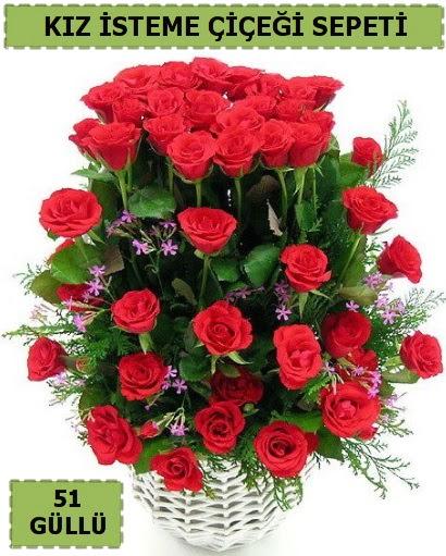 51 ADET KIRMIZI GÜLDEN KIZ İSTEME SEPETİ  Türkiye güvenli kaliteli hızlı çiçek